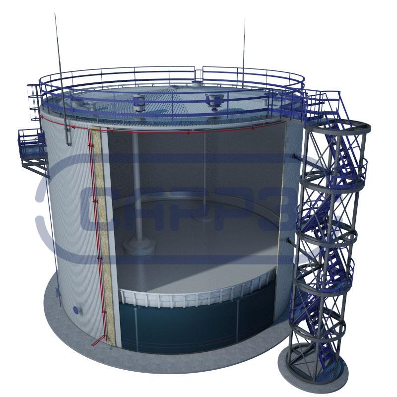 Вертикальный резервуар в разрезе