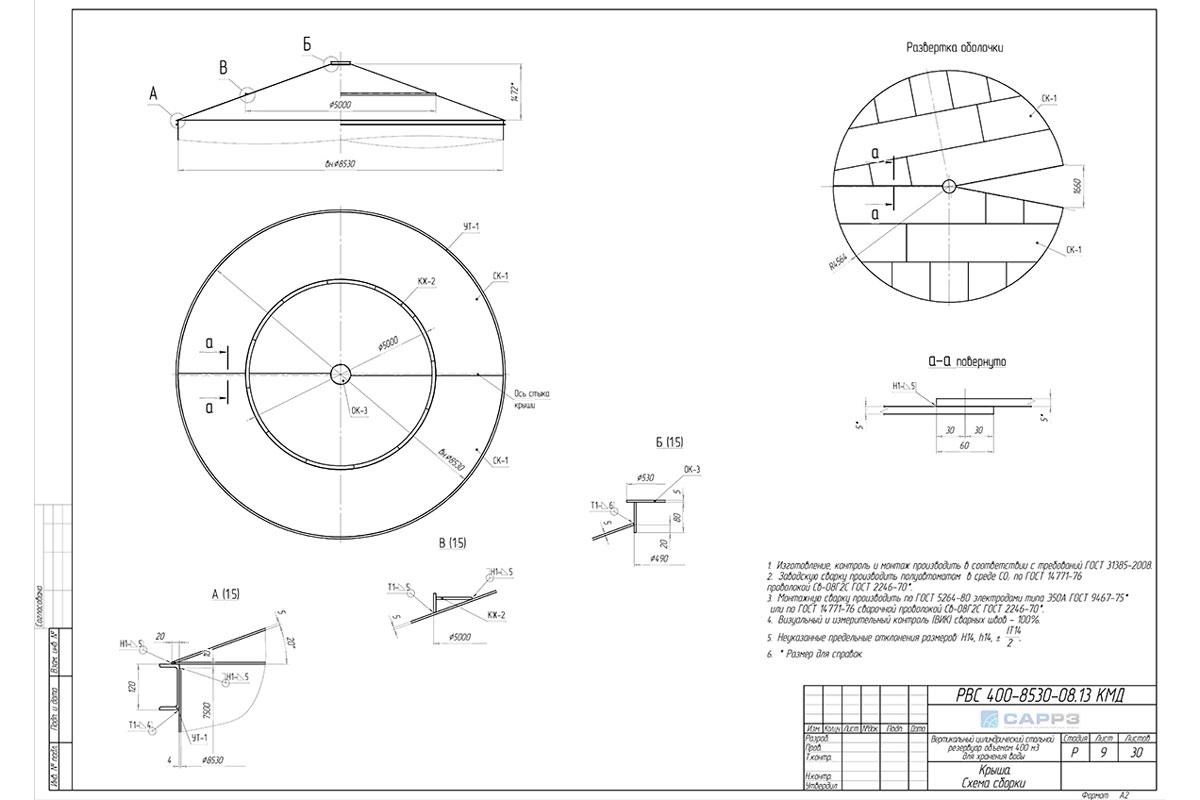 Проект КМД на вертикальный резервуар РВС-400 м3